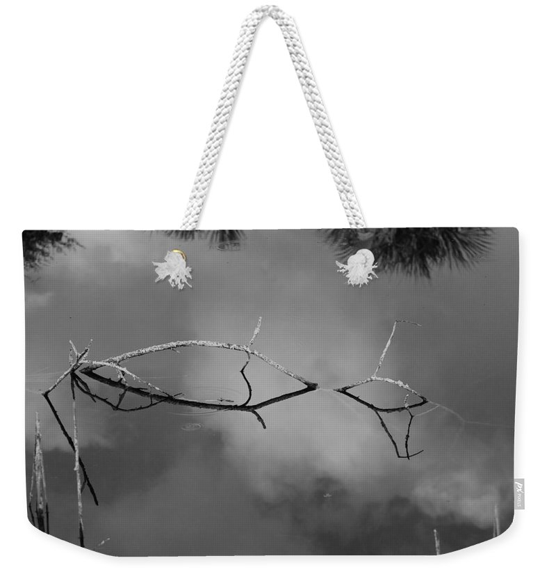 Black And White Weekender Tote Bag featuring the photograph Cloudy Bridge by Rob Hans