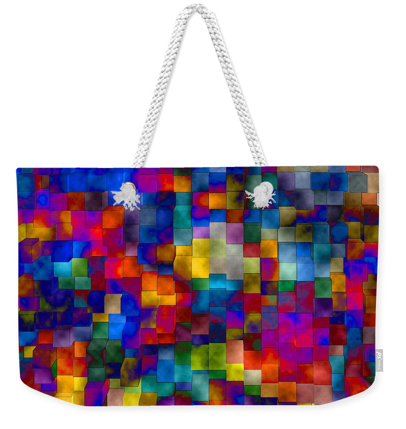 Abstract Weekender Tote Bag featuring the digital art Cloudy Cubes by Ruth Palmer