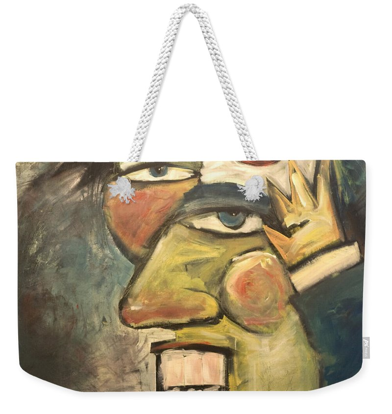 Clown Weekender Tote Bag featuring the painting Clown Painting by Tim Nyberg