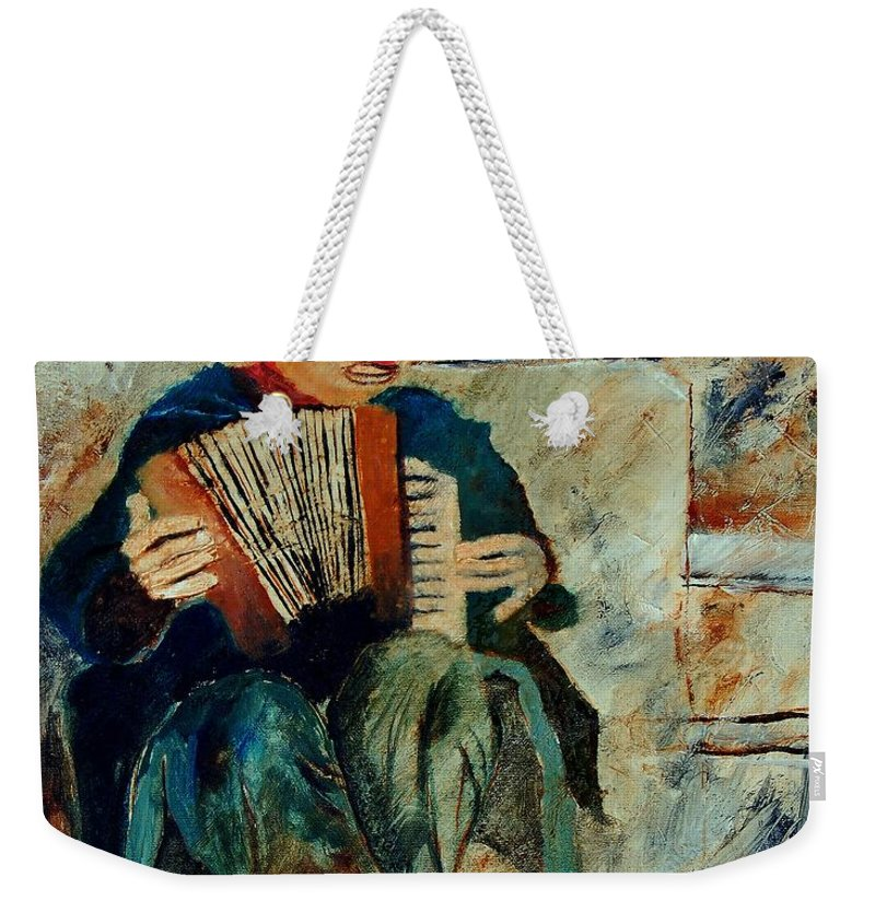 Music Weekender Tote Bag featuring the painting Clown by Pol Ledent