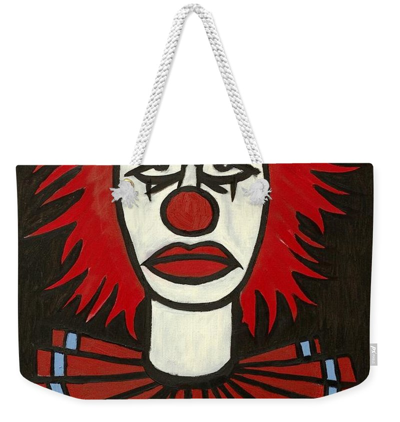 Clay Weekender Tote Bag featuring the painting Clown by Thomas Valentine