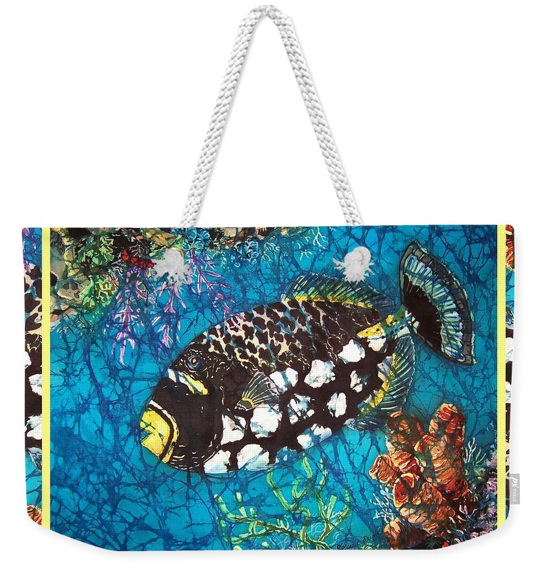 Batik Weekender Tote Bag featuring the painting Clown Triggerfish-bordered by Sue Duda