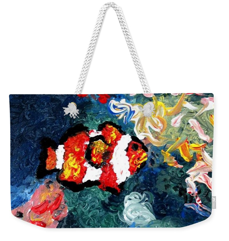 Fish Weekender Tote Bag featuring the painting Clownfish by Luiza Vizoli