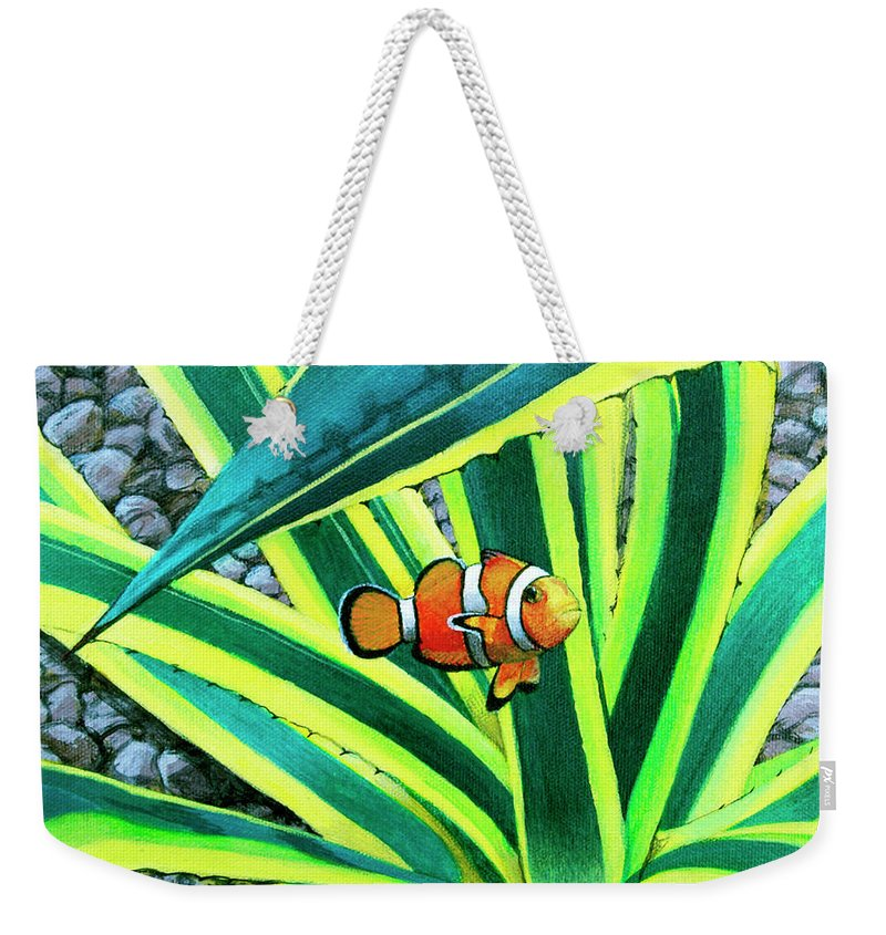 Fish Weekender Tote Bag featuring the painting Clownfish by Snake Jagger