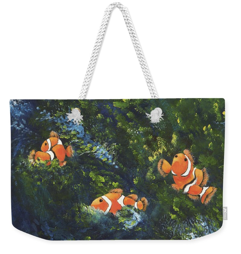 Clown Fish Weekender Tote Bag featuring the painting Clowning Around by Carol Sweetwood