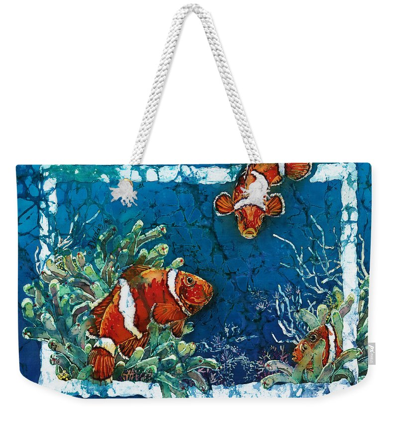 Ocean Weekender Tote Bag featuring the painting Clowning Around - Clownfish by Sue Duda