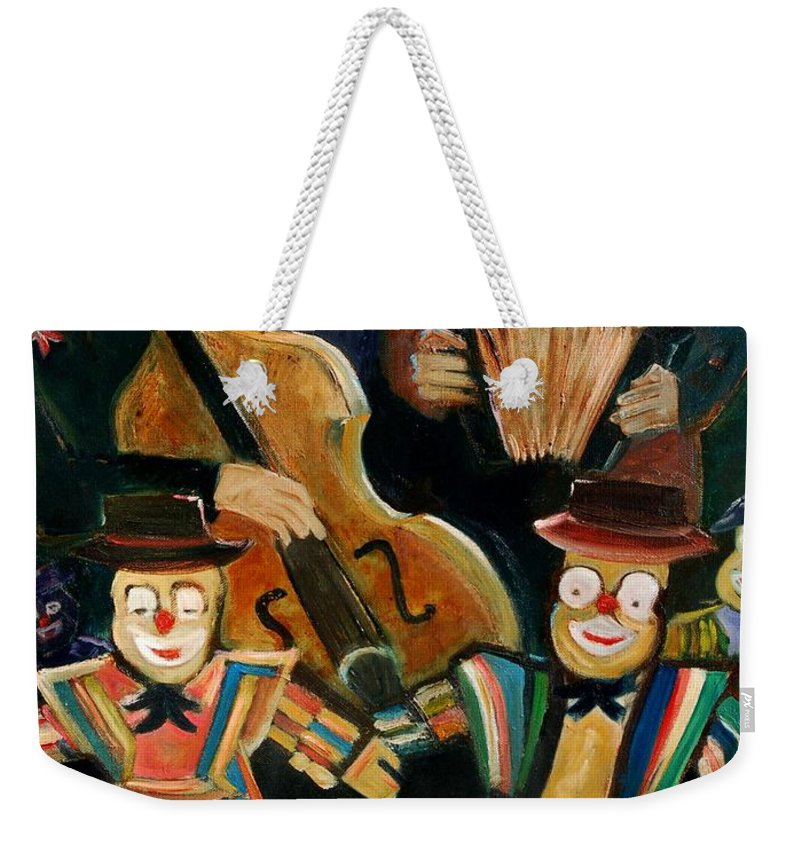 Clowns Circus Weekender Tote Bag featuring the print Clowns by Pol Ledent