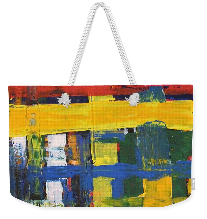 Red Weekender Tote Bag featuring the painting Club House by Pam Roth O'Mara