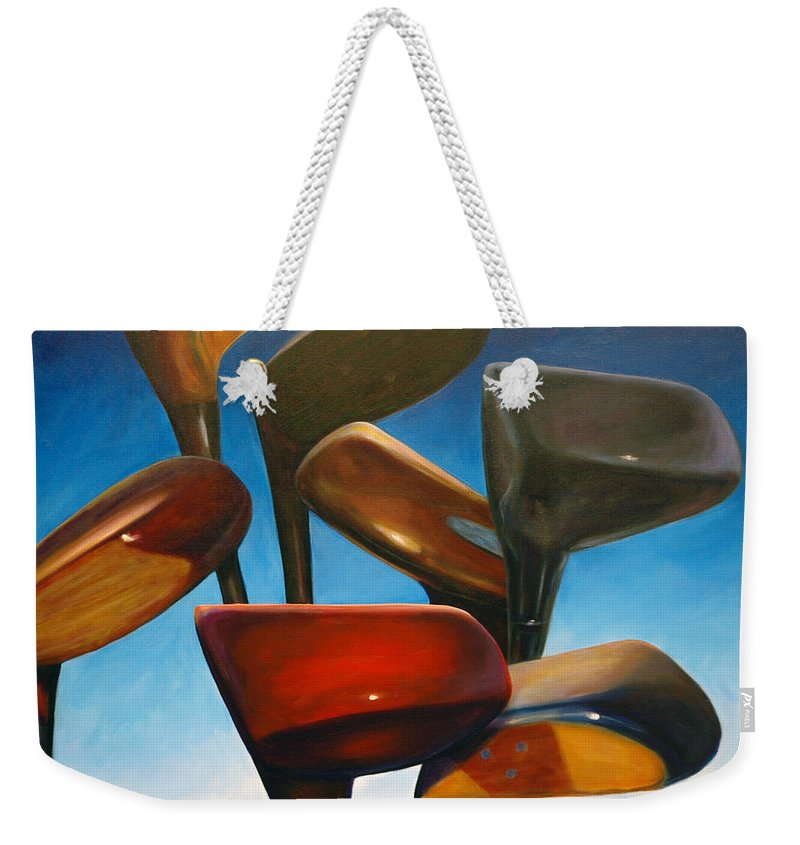 Golf Clubs Brown Weekender Tote Bag featuring the painting Clubs Rising by Shannon Grissom