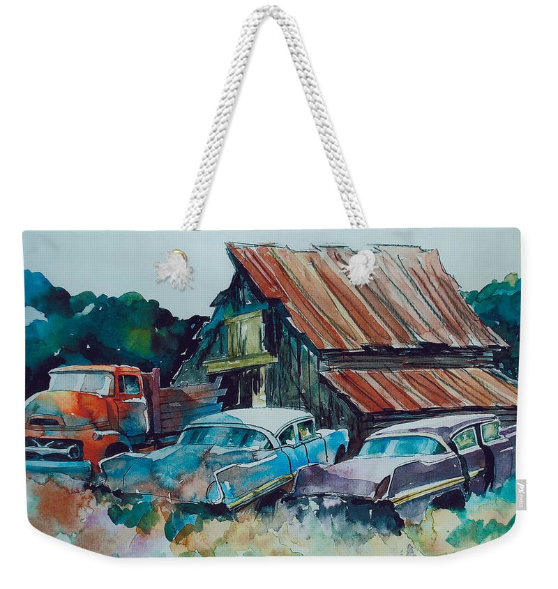 Ford Cabover Weekender Tote Bag featuring the painting Cluster of Restorables by Ron Morrison