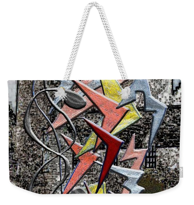 Castle Weekender Tote Bag featuring the digital art Clutch Of Chevrons by Mark Sellers