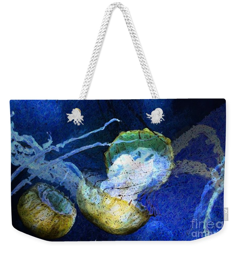 Jelly Fish Weekender Tote Bag featuring the digital art Cnidaria by Ron Bissett