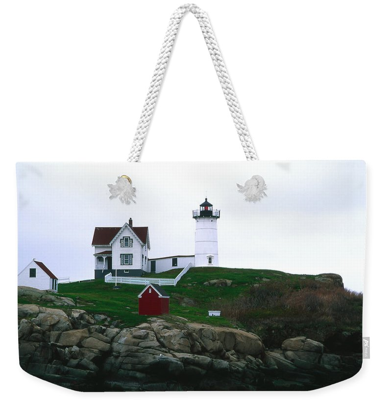 Landscape Lighthouse Nautical New England Nubble Light Cape Neddick Weekender Tote Bag featuring the photograph Cnrf0502 by Henry Butz