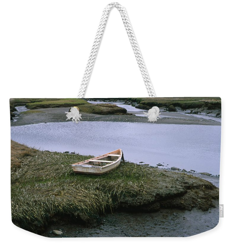 Landscape New England Marsh Row Boat Rye Harbor Weekender Tote Bag featuring the photograph Cnrf0503 by Henry Butz