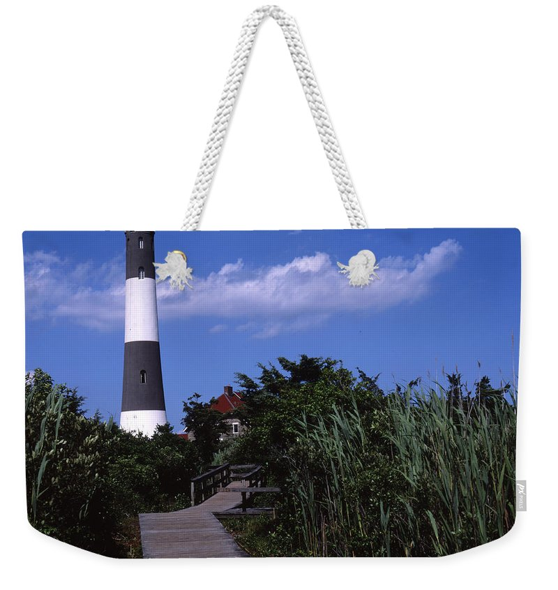 Landscape Lighthouse Fire Island Weekender Tote Bag featuring the photograph Cnrf0702 by Henry Butz