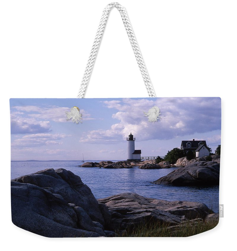Landscape Lighthouse New England Annisquam Harbor Light Gloucester Weekender Tote Bag featuring the photograph Cnrf0903 by Henry Butz
