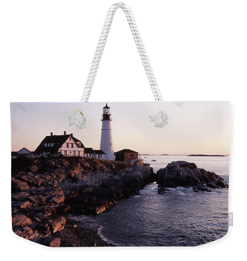 Landscape Lighthouse Nautical New England Portland Head Light Cape Elizabeth Weekender Tote Bag featuring the photograph Cnrf0905 by Henry Butz