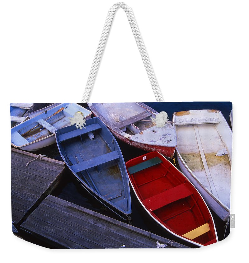Landscape New England Boat Fishing Nautical Coast Weekender Tote Bag featuring the photograph Cnrf0906 by Henry Butz