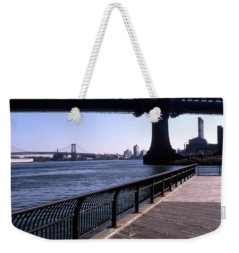 Landscape Manhattan Bridge New York City Weekender Tote Bag featuring the photograph Cnrg0402 by Henry Butz