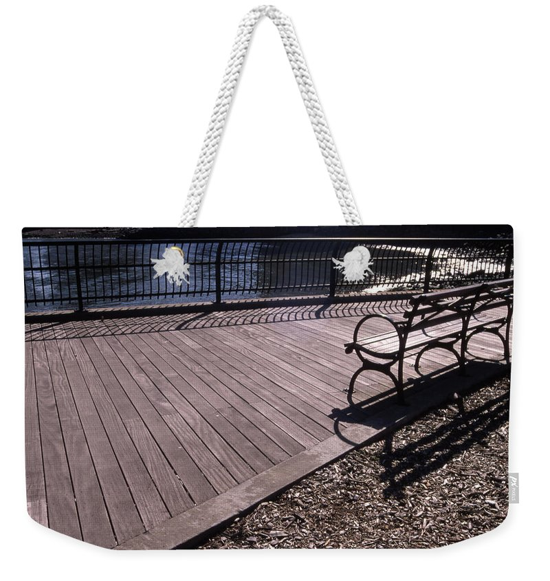 Manhattan Brooklyn Bridge Park Bench Weekender Tote Bag featuring the photograph Cnrg0404 by Henry Butz