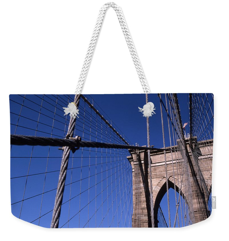 Landscape Brooklyn Bridge New York City Weekender Tote Bag featuring the photograph Cnrg0405 by Henry Butz