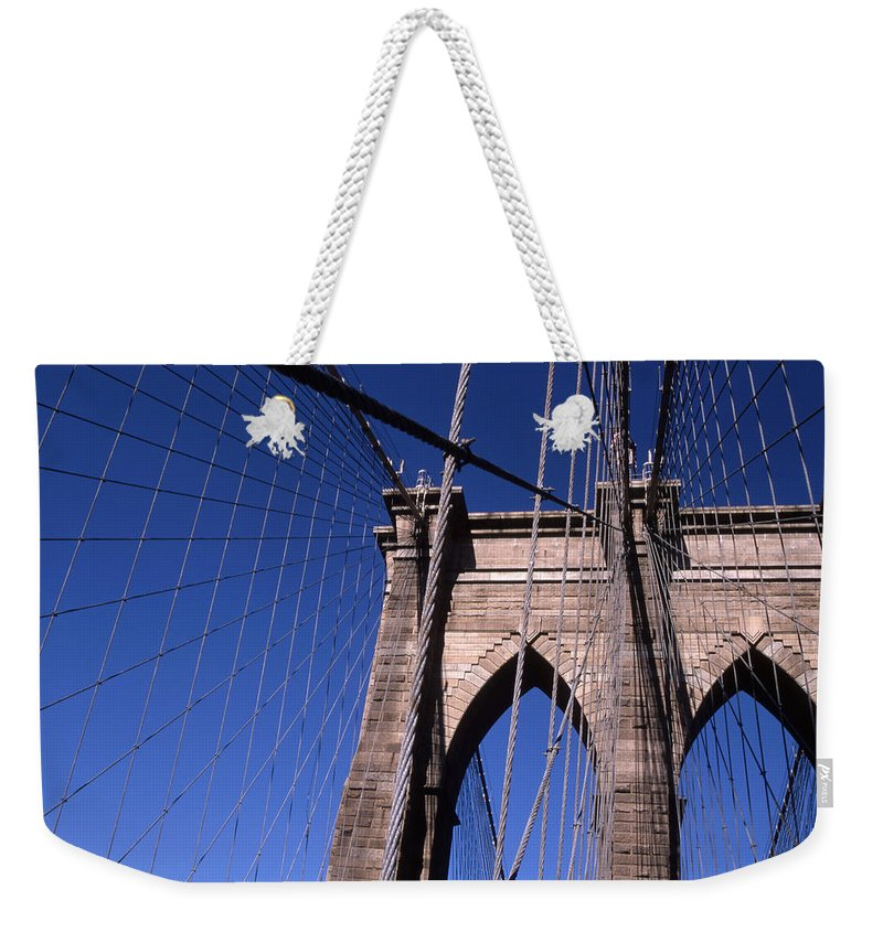Landscape Brooklyn Bridge New York City Weekender Tote Bag featuring the photograph Cnrg0406 by Henry Butz