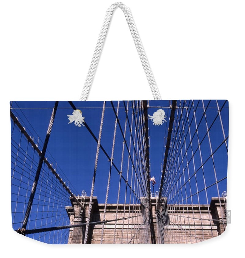 Landscape Brooklyn Bridge New York City Weekender Tote Bag featuring the photograph Cnrg0407 by Henry Butz