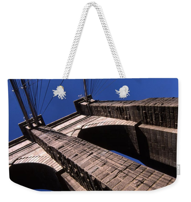 Landscape Brooklyn Bridge New York City Weekender Tote Bag featuring the photograph Cnrg0408 by Henry Butz