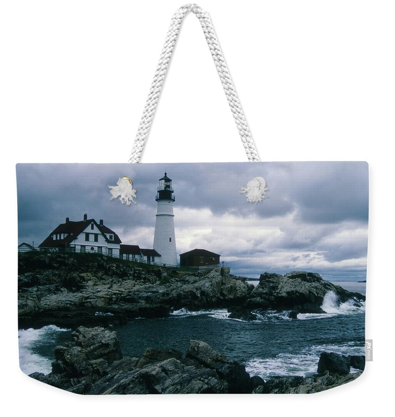 Landscape New England Lighthouse Nautical Storm Coast Weekender Tote Bag featuring the photograph Cnrg0601 by Henry Butz