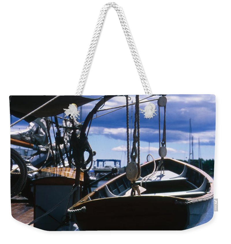 Landscape Camden Harbor Maine Sail Boat Harbor Nautical Weekender Tote Bag featuring the photograph Cnrh0601 by Henry Butz
