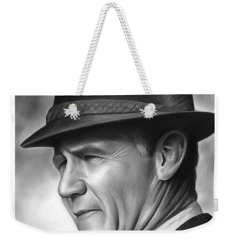 Football Weekender Tote Bag featuring the drawing Coach Tom Landry by Greg Joens