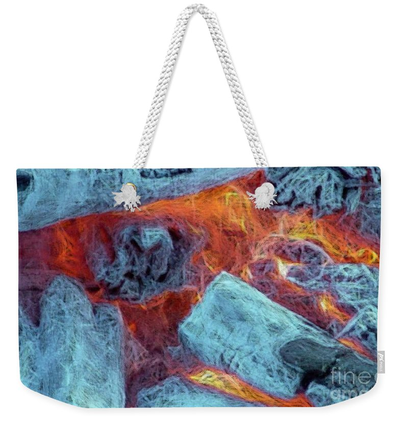 Fire Art Weekender Tote Bag featuring the digital art Coals And Embers by Ron Bissett