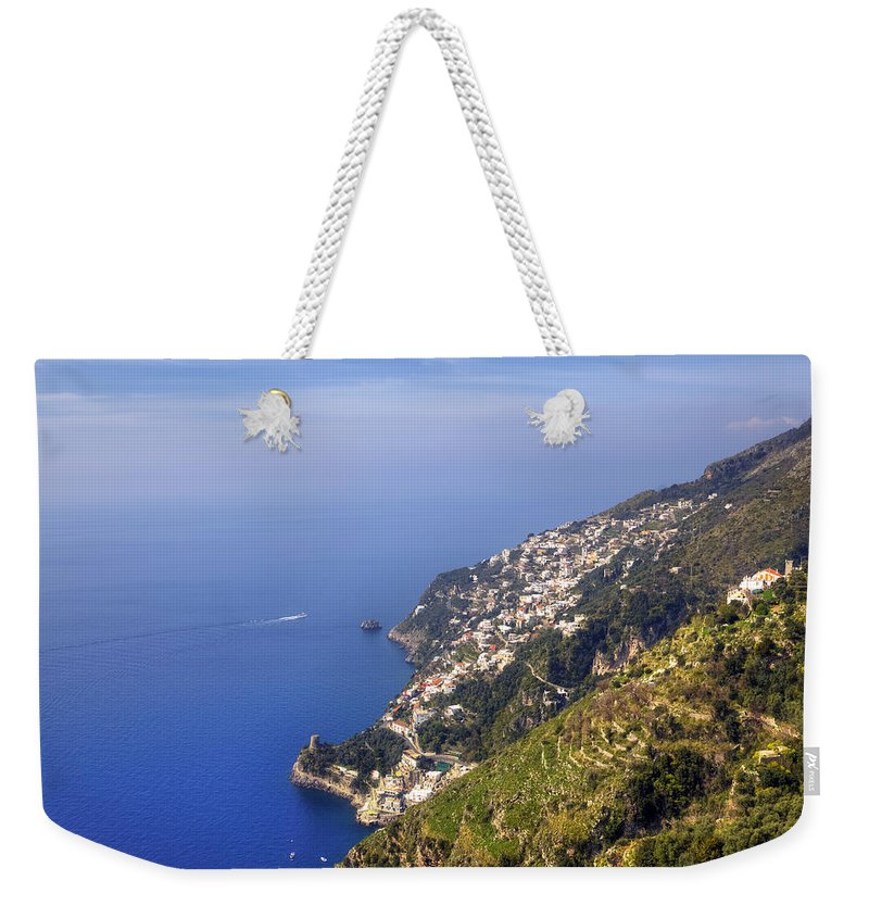 Praiano Weekender Tote Bag featuring the photograph Coast Of Amalfi by Joana Kruse