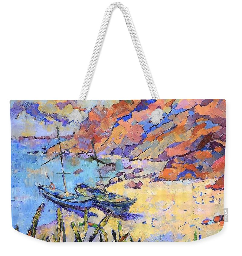 Seascape Weekender Tote Bag featuring the painting Coastal Light by Annika Zalmover