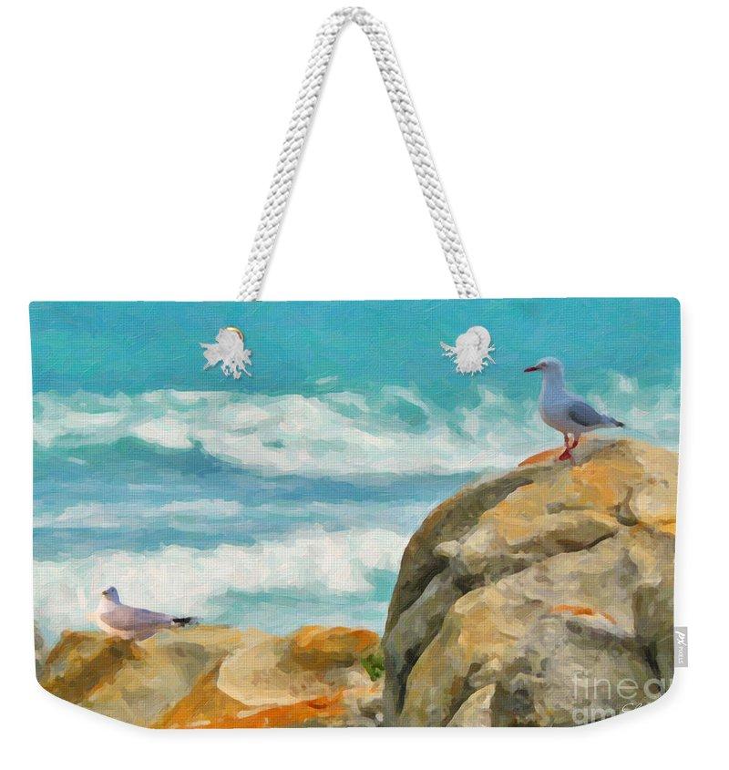 Coast Weekender Tote Bag featuring the painting Coastal Rocks by Chris Armytage