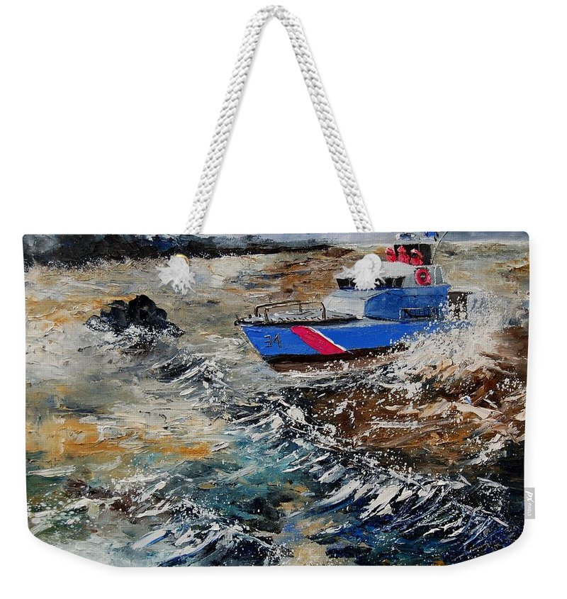 Sea Weekender Tote Bag featuring the painting Coastguards by Pol Ledent