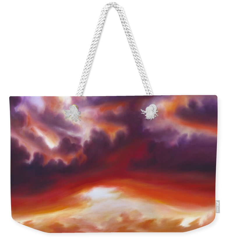 Skyscape Weekender Tote Bag featuring the painting Coastline by James Christopher Hill