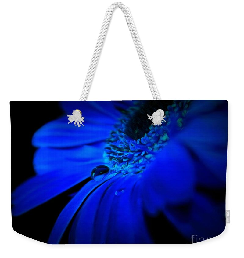 Daisy Weekender Tote Bag featuring the photograph Cobalt Blues by Krissy Katsimbras
