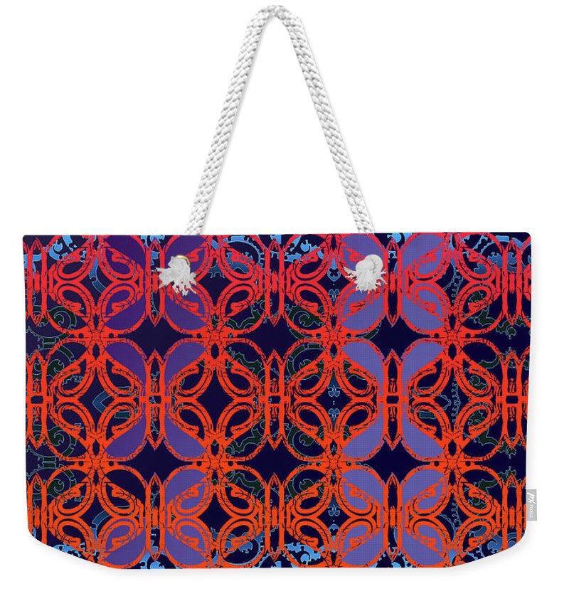 Hot Red Weekender Tote Bag featuring the digital art Cobalt Crimson by Ceil Diskin