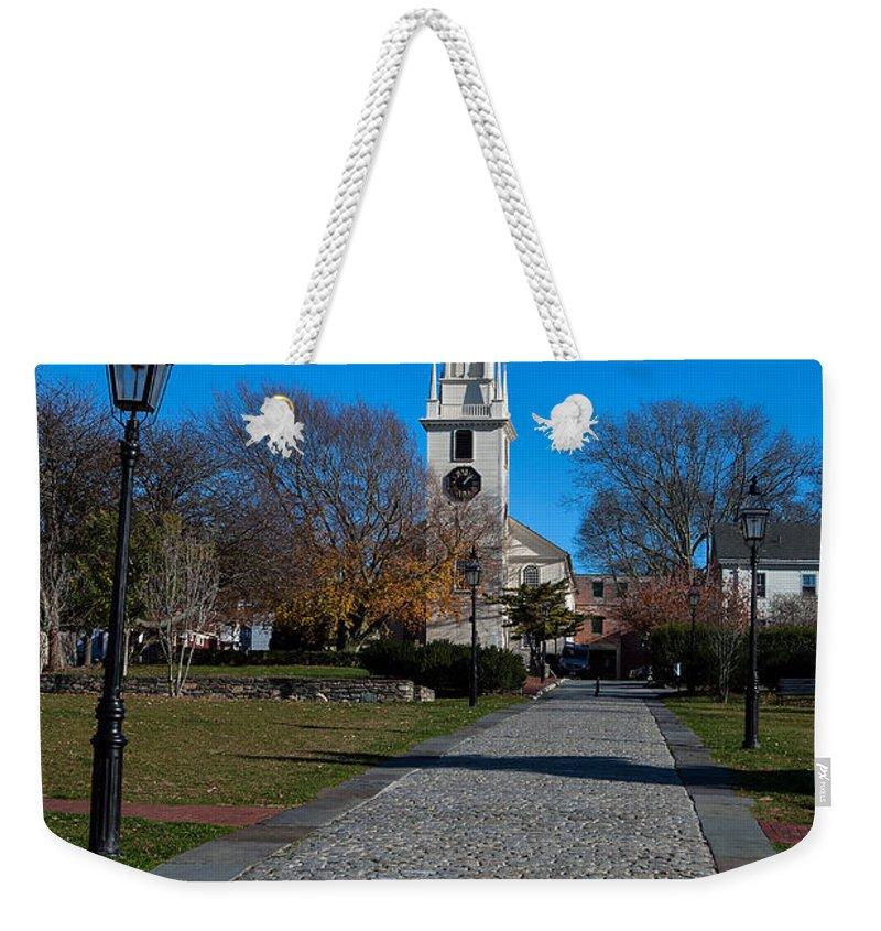 Travel Weekender Tote Bag featuring the photograph Cobblestone To Trinity Church Newport Rhode Island by Jason O Watson
