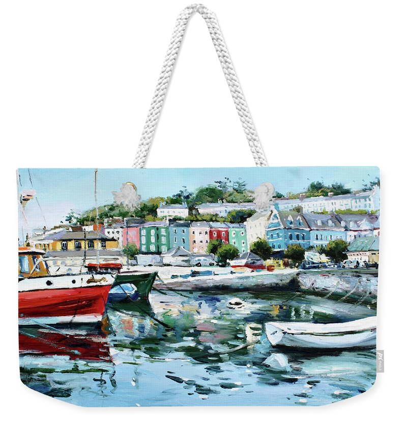 Cobh Weekender Tote Bag featuring the painting Cobh Harbour County Cork by Conor McGuire