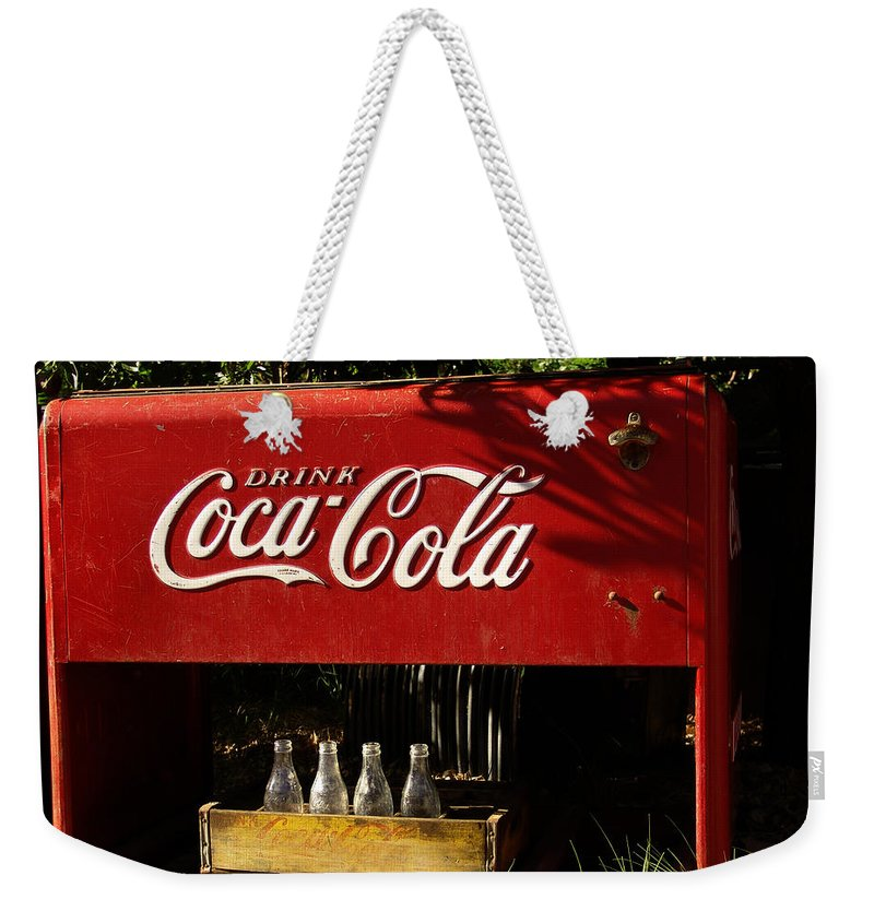 Coke Weekender Tote Bag featuring the photograph Coca-cola by Carol Milisen