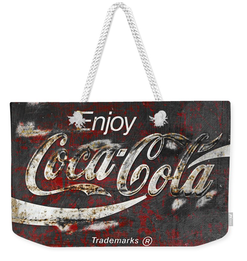 Coca Cola Weekender Tote Bag featuring the photograph Coca Cola Grunge Sign by John Stephens