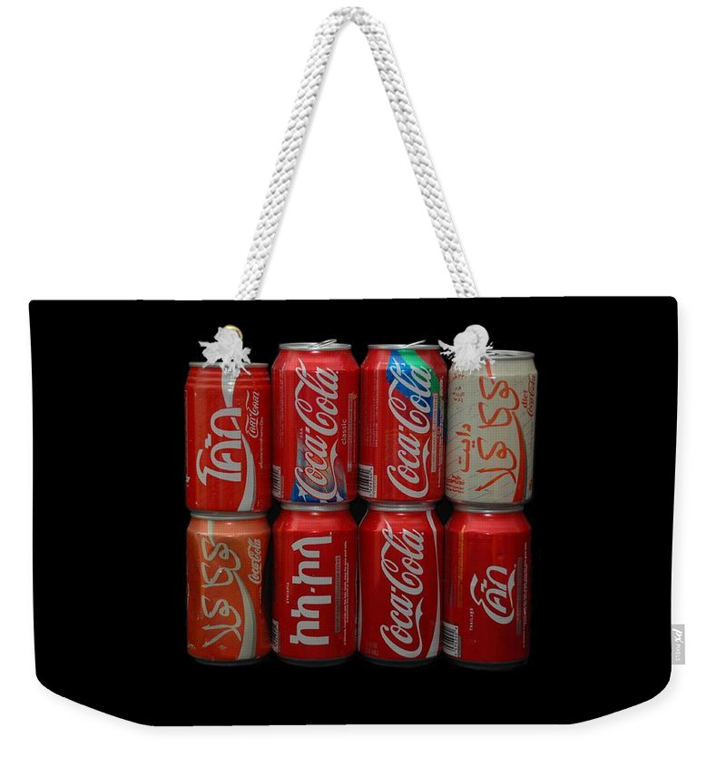 White Weekender Tote Bag featuring the photograph Coca Cola by Rob Hans