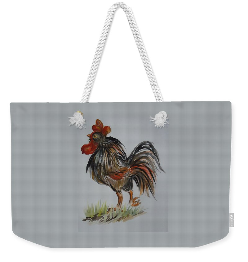 Rooster With And Attitude. Rooster Weekender Tote Bag featuring the painting Cock-a-doodle-do by Charme Curtin
