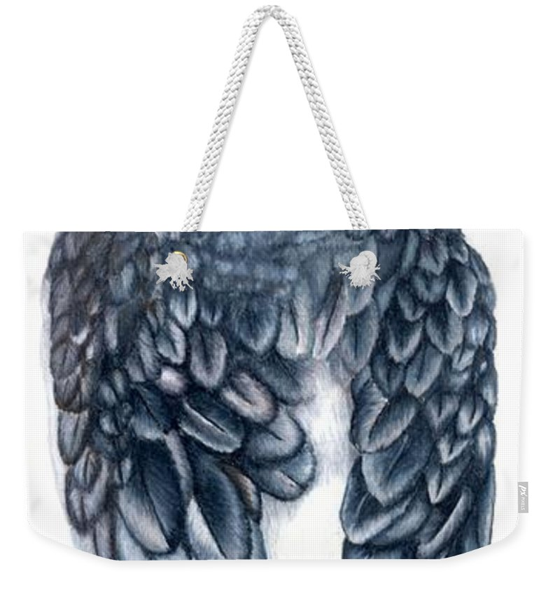 Cockatiel Weekender Tote Bag featuring the drawing Cockatiel 1 by Kristen Wesch