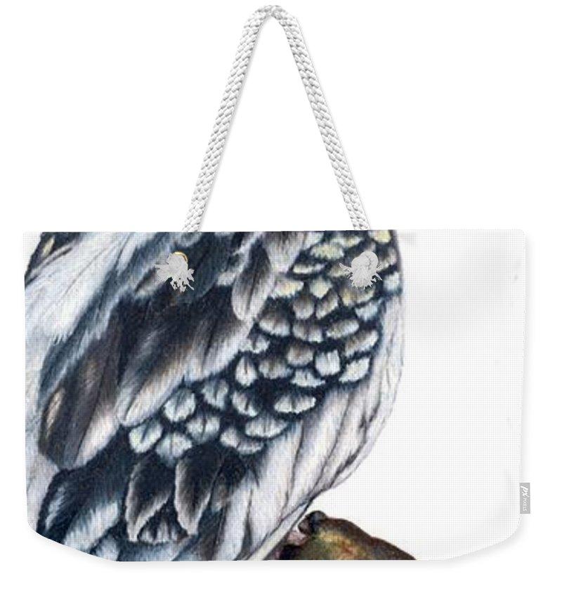 Cockatiel Weekender Tote Bag featuring the drawing Cockatiel 2 by Kristen Wesch