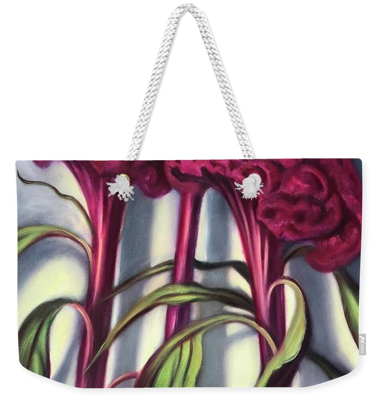 Celosia Weekender Tote Bag featuring the painting Cockscombs by Randy Burns