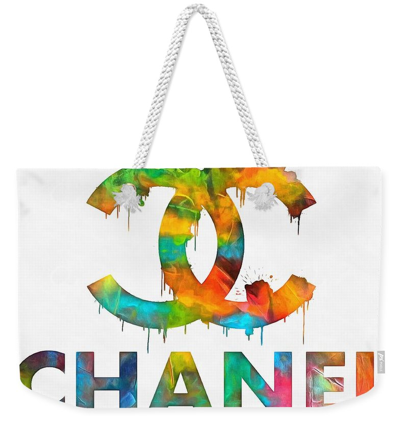 Coco Chanel Paint Splatter Color Weekender Tote Bag featuring the painting Coco Chanel Paint Splatter Color by Dan Sproul