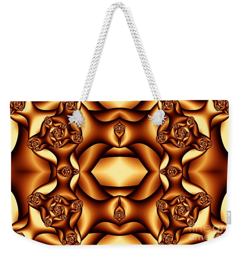Clay Weekender Tote Bag featuring the digital art Cocoa Fractal Roses by Clayton Bruster